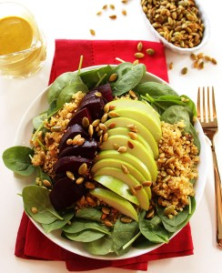 Beet and Green Apple Spinach Salad with Curry Dressing