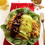 Green Apple Beet Spinach Salad with Curry Dressing. A delicious, healthy, salad. #vegan #glutenfree
