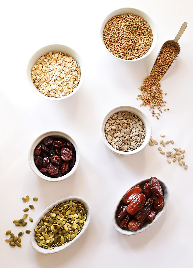 Ingredients for Seedy Buckwheat Granola Bars. Easy and healthy. #glutenfree #vegetarian