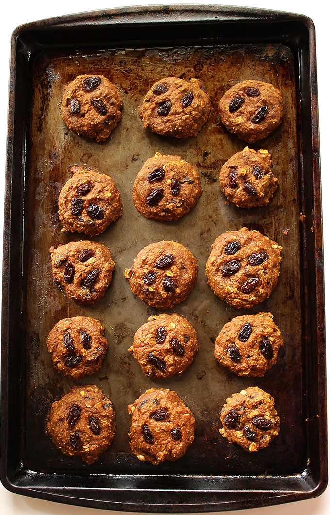 Pumpkin Oatmeal Raisin Cookies! Soft and chewy. Easy and delicious. Perfect for fall! #glutenfree #pumpkin  | robustrecipes.com