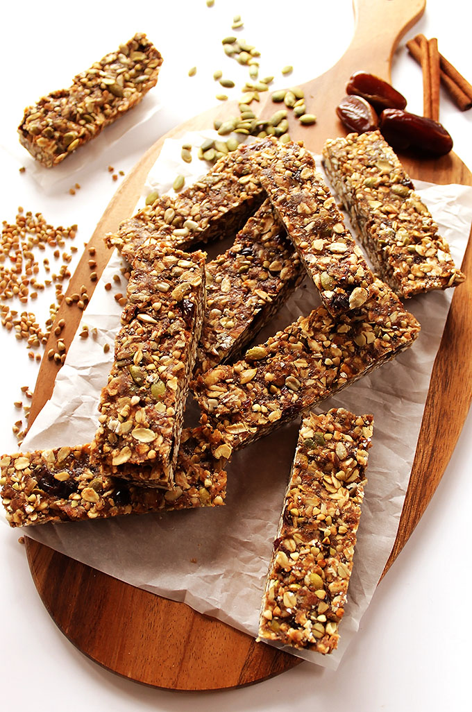 Seedy Buckwheat Granola Bars. The best on the go breakfast or snack! #glutenfree
