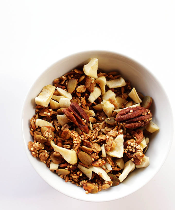 Apple Spiced Granola. Tasty, easy, a great snack or breakfast. Vegan and Gluen free!