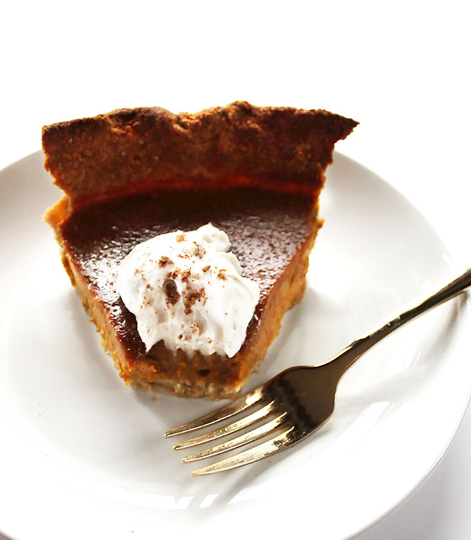 Gluten Free Pumpkin Pie. Easy Gluten free curst made from shredded cooconut and oat flour. Pumpkin filling is simple, rich, and velvety smooth!