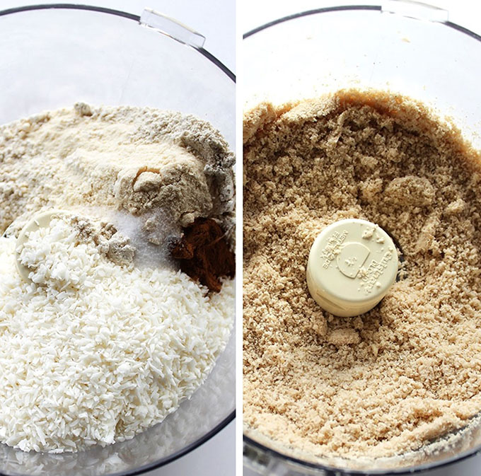 Gluten free pie crust made with shredded coconut and oat flour. Easy, delicious. and healthy.