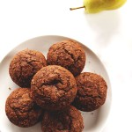 Gluten Free Gingerbread Pear Muffins. Made with oat flour. Bursting with rich molasses, spicy ginger, and sweet fresh pear!