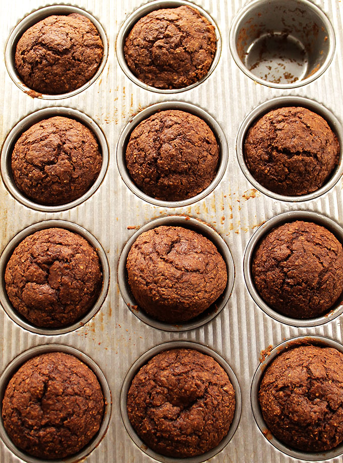 Gluten Free Gingerbread Pear Muffins. Shredded pear, spicy ginger, and rich sweet molasses!