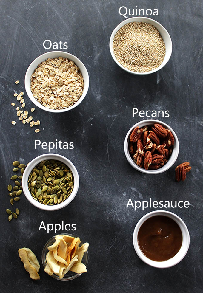 Ingredients for Apple Spiced Granola. vegan and glutenfree! Simple and easy to make! Perfect for breakfast or a snack!.