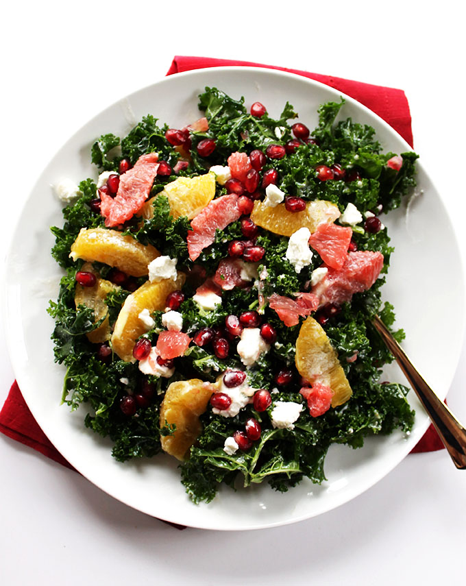 Winter Kale Salad. Super Healthy, super easy, seasonal side salad!