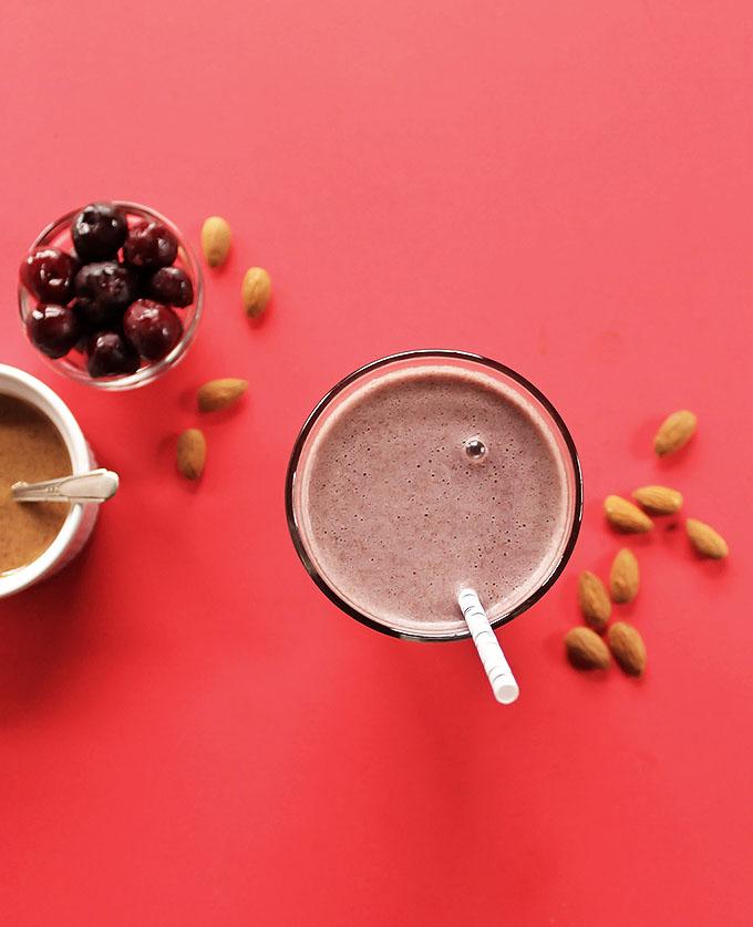 Cherry Almond Smoothie. Tastes like dessert in a glass!