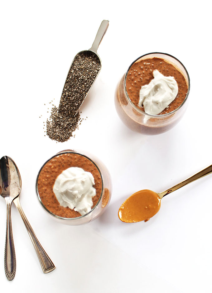 Chocolate Peanut Butter Chia Seed Pudding. Creamy, indulgent, easy, and HEALTHY dessert!