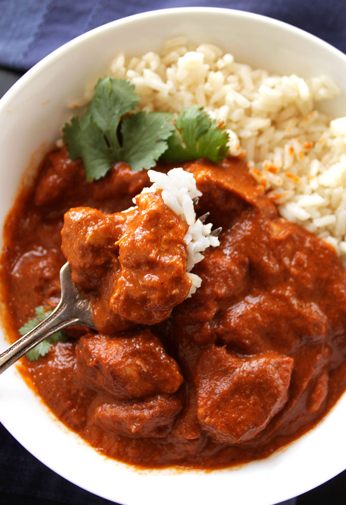 Butter Chicken - A delicious Indian dish! Tender chicken in a flavorful sauce! EASY to make! One of our favorite recipes! Gluten Free. | robustrecipes.com