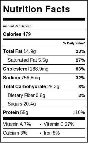 One Pan Lemon Chicken - Nutrtion Info