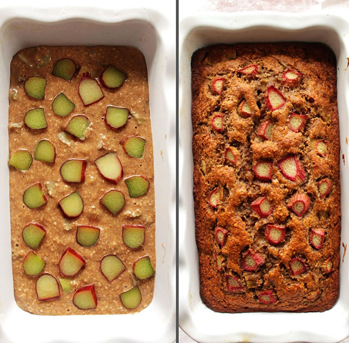 Banana Rhubarb Bread - Before baking and after baking. Gluten Free.