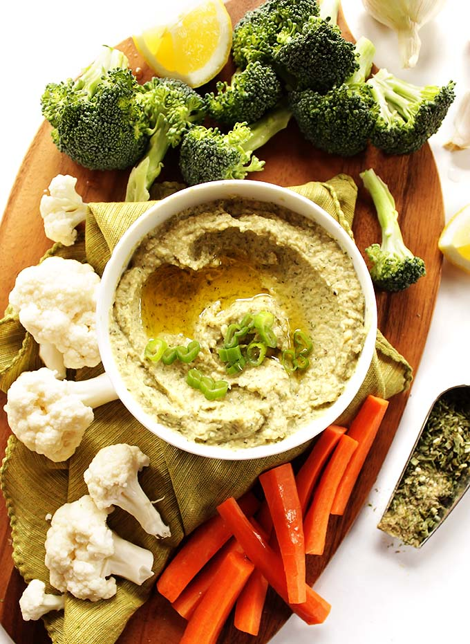 Ranch Hummus - Hummus meets the flavors of ranch. It's a creamy, dreamy hummus with all of the bold ranch flavors! This recipe is EASY to make. It's the perfect addition to your veggie platter! Gluten Free/vegetarian.