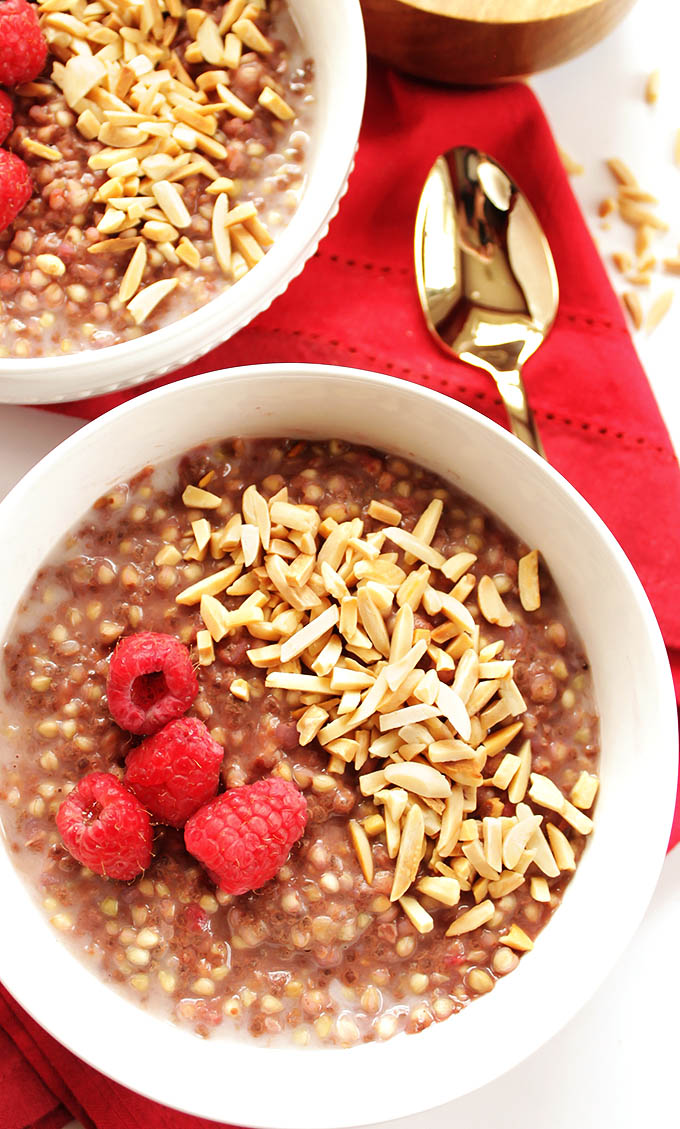 Raspberry Buckwheat Breakfast Porridge - EASY breakfast, comes together in 12 minutes. Creamy, satisfying, wholesome real food breakfast! Perfect for chilly mornings. Vegan/Gluten Free | robustrecipes.com