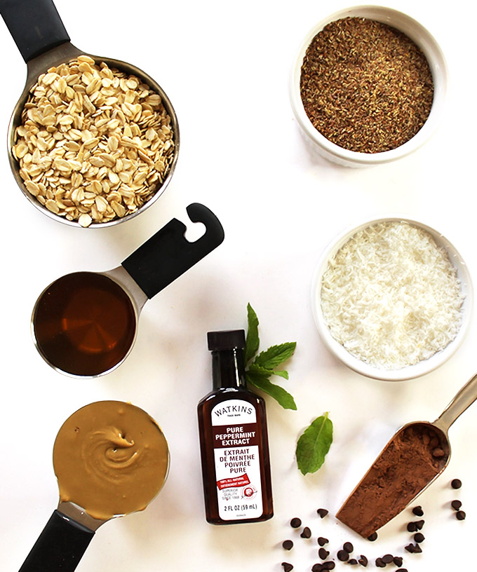 Ingredients for Chocolate Mint Energy Balls - Gluten Free/vegetarian/refined sugar free.