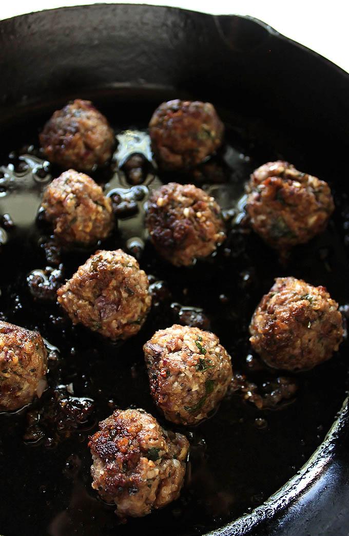 Gluten free gyro bowls - lamb meatballs