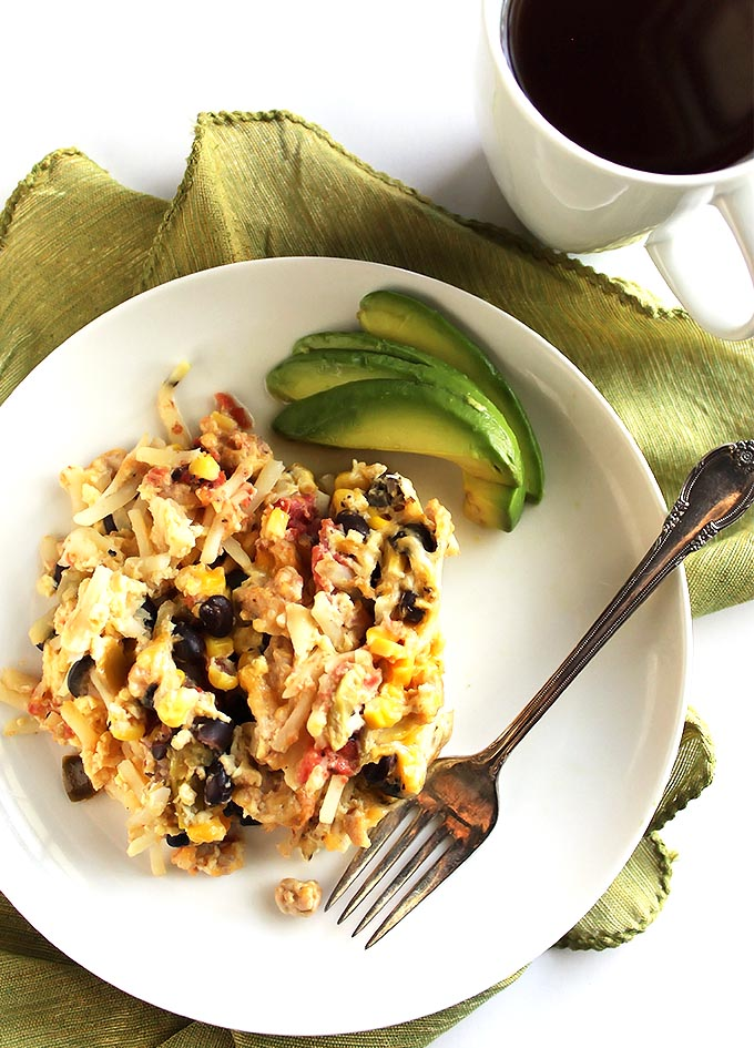 Mexican Crock Pot Breakfast Casserole - Perfect for feeding a crown or make ahead breakfasts. An easy recipe that cooks while you sleep! Gluten Free