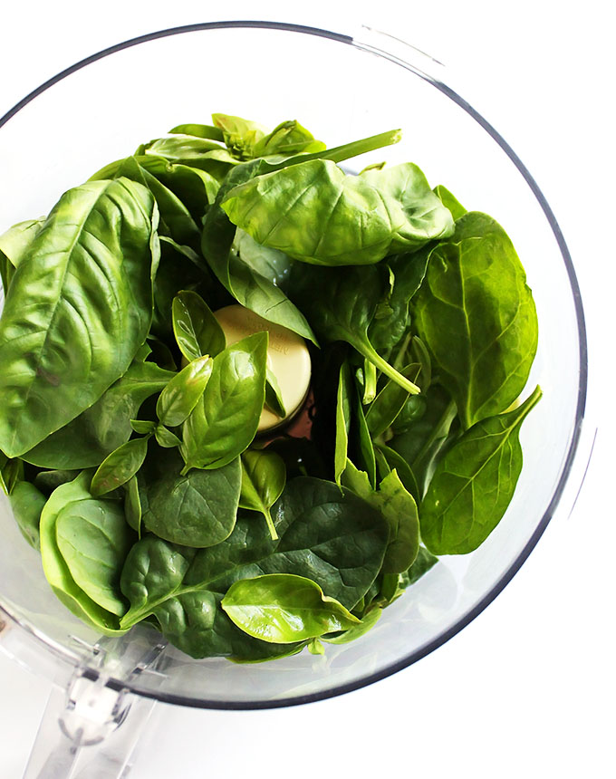 basil and spinach leaves for pest hummus