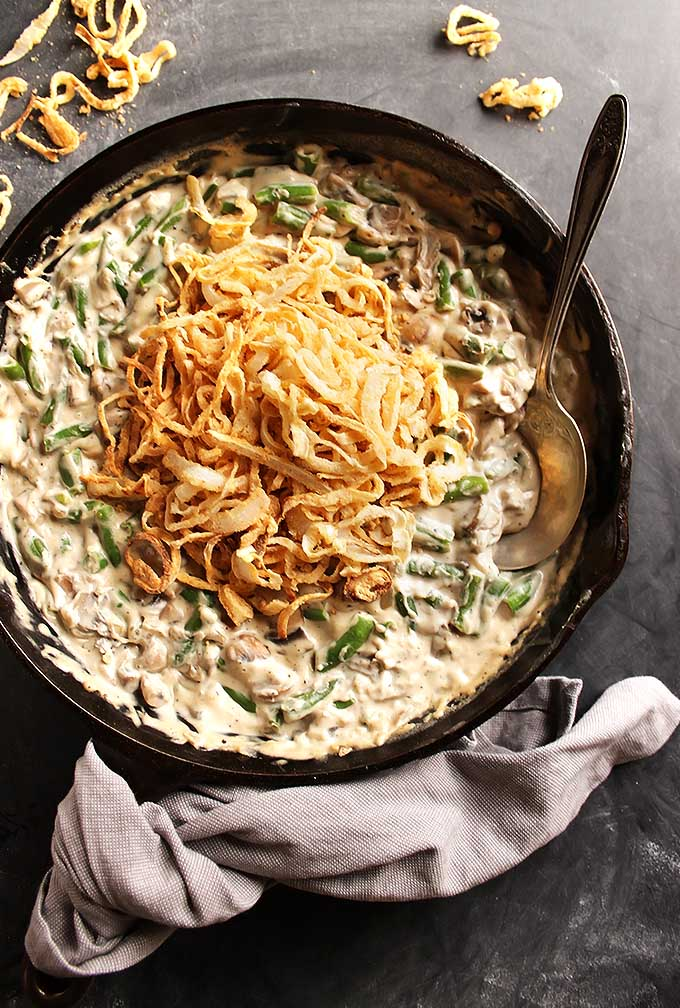 Gluten Free Green Bean Casserole - The best green bean casserole! Made from wholesome ingredients - no canned cream of mushroom soup! Comes together in 45 minutes! This recipe is perfect for your holiday menu! Dairy Free/ Gluten Free | robustrecipes.com