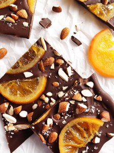 Dark Chocolate Bark with Candied Oranges