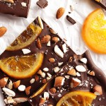 Dark Chocolate Bark with Candied Oranges - This recipe is perfect for holiday treats or as an edible gift! So delicious! Dark chocolate topped with juicy candied oranges and sea salt!!! Gluten Free | robustrecipes.com