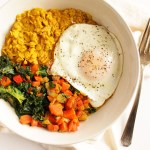 Savory Curried Oatmeal with Veggies and Fried Egg - Creamy curried oatmeal topped with sauteed veggies and a fried egg (or two). A satisfying, balanced breakfast that will keep your full for hours! This recipe includes steps to make a portion of it ahead so that you can enjoy during your busy weekday mornings. Gluten Free/Dairy Free | robustrecipes.com