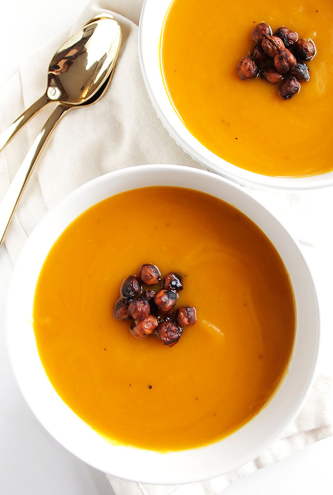 Slow Cooker Butternut Squash Soup - Simple ingredients, creamy, and slightly sweet. Topped with crispy chickpeas. This recipe makes a huge batch, it's perfect for recipe planning and freezes well. We LOVE this soup in the winter or fall. Vegan//Gluten Free | robustrecipes.com