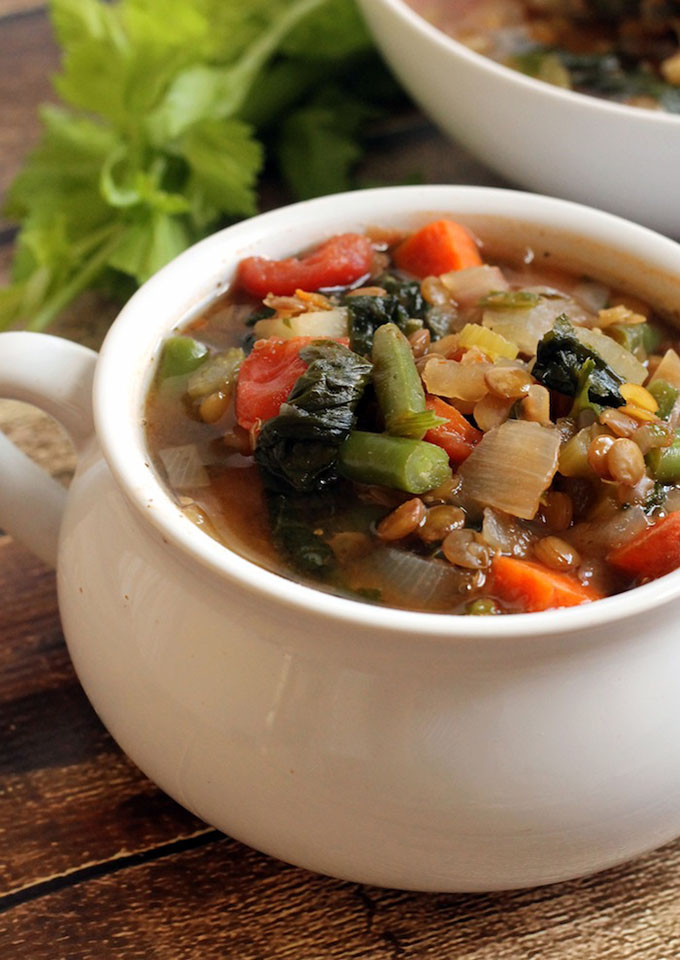 16 Gluten Free Soups for When You're Sick - Lentil Vegetable Soup | robustrecipes.com