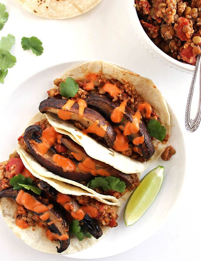 Lentil Mushroom Tacos with Creamy Chipotle Sauce - Satisfying vegan tacos packed with 10 grams of protein and 6 grams of fiber! This recipe only takes 40 minutes to make! Perfect for a weeknight meal! Vegan/Dairy Free/Gluten Free | robustrecipes.com