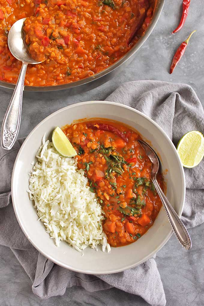 40 Minute Red Lentil Curry With Cauliflower Rice Robust Recipes