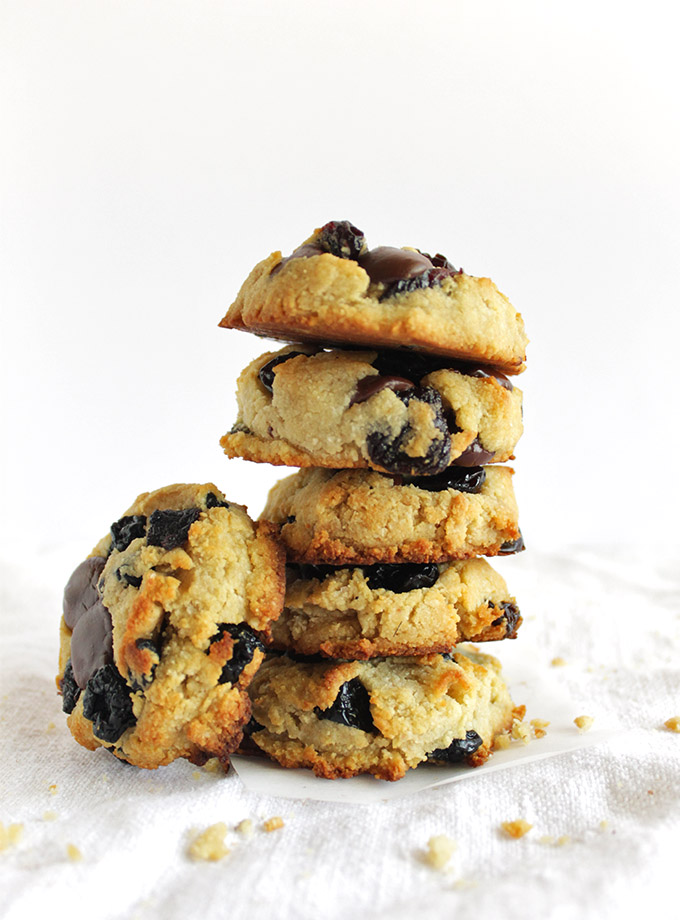 Berry Chocolate Chip Cookies (Gluten Free) - Soft cookies that are studded with tart dried cherries, sweet dried blueberries, and rich dark chocolate chips. Plus this recipe only requires one bowl! So YUM! | robustrecipes.com