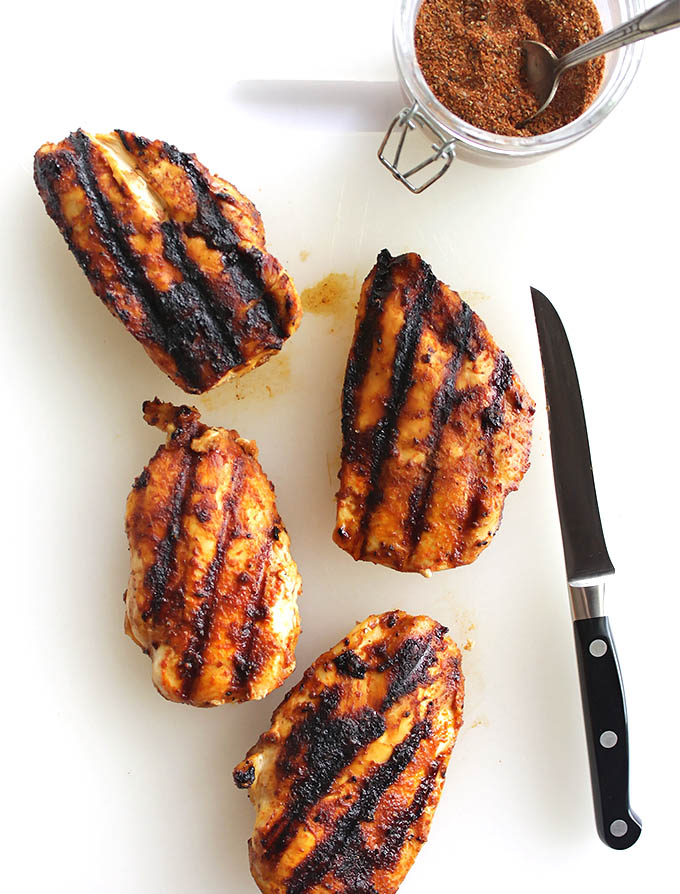 6 Ingredient smoky spice rub can be used on pretty much any kind of meat: chicken, fish, burgers, steak, pork, or ribs. It can be used as a dry rub or mix it with a little oil to create a paste. It's a quick and EASY way to add excitement to any meat, It's smoky, a little spicy, and sweet, perfect for grilling, roasting, or pan searing! Gluten free/refined sugar free | robustrecipes.com