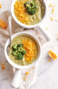 Healthier Broccoli Cheese Soup  (+ Vegan Option)