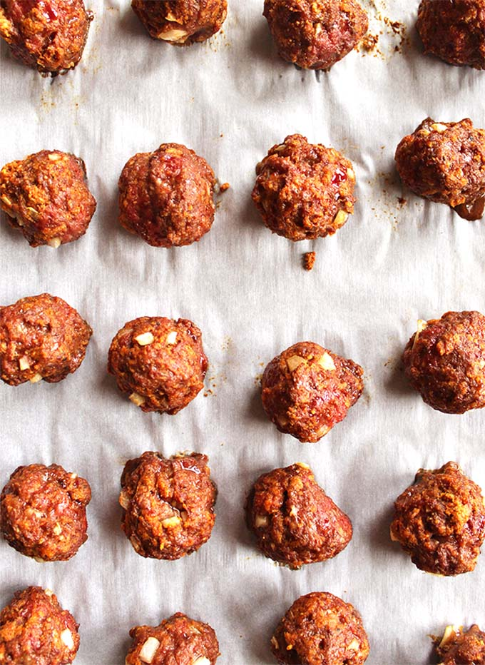 Spicy chipotle honey meatballs with cooling lime cilantro sauce - The perfect appetizer recipe for any party. Spicy, sweet, and smoky with a cooling cilantro lime sauce. Super easy to make. (Gluten Free)   robustrecipes.com