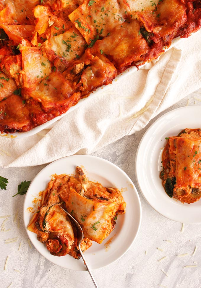 Mushroom Lasagna With Roasted Red Pepper Sauce