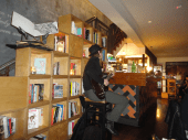 Ampersand bookstore cafe guitarist