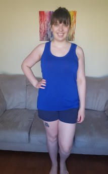 Top: Itch to Stitch Lago Tank in rayon spandex. Bottoms: Grainline Maritime Shorts in cotton twill