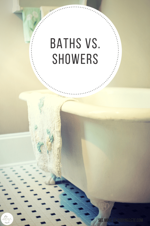 In this green age perhaps the old bath vs shower debate should be something you at least consider. However, responsible water consumption is completely controllable whichever method of self cleaning you choose. Here's how: Don't use more water than you need.