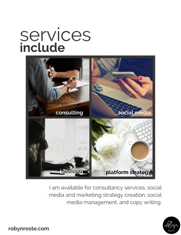 Create a social media portfolio by starting with your services and expertise.