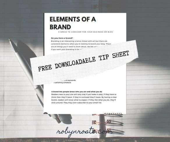 Elements of a brand free worksheet