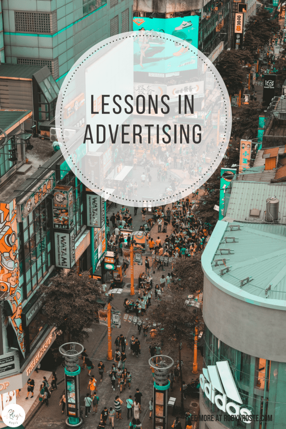 I'm having thoughts about advertising. Musings, if you will. Advertising musings. In my first year of university I took a course on advertising. It wasn't terribly informative or interesting (it was a first year course after all) but I did manage to take something from the class. And it has finally become useful