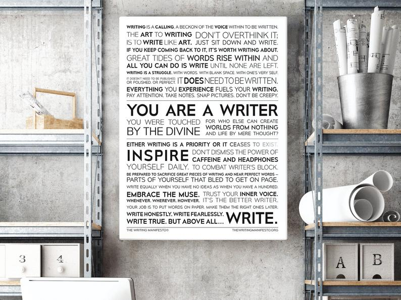 Gifts for writers | Writing manifesto poster