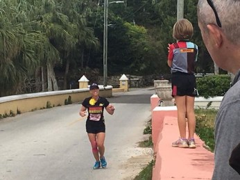 I was met by my friend Amy and her family around mile 25 with cheers and high 5's! (Photo courtesy of Amy)