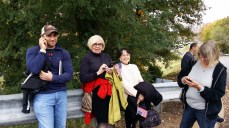 My husband and parents wait for me at the Marine Corps Marathon