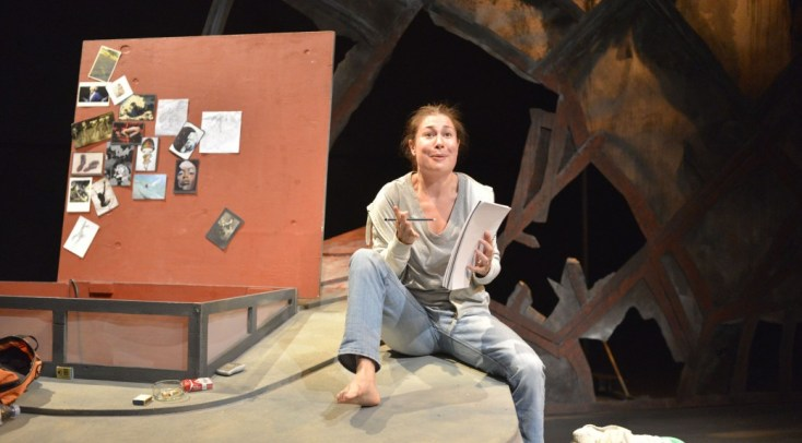 Kate Liquorish is Rachel Corrie. Photograph courtesy Hearts and Eyes Theatre Collective.