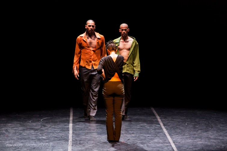 Poised: Grant van Ster (left) and Shaun Oelf opposite Thabiso Dinga in The Architecture of Tears. Photograph by Dex Goodman.