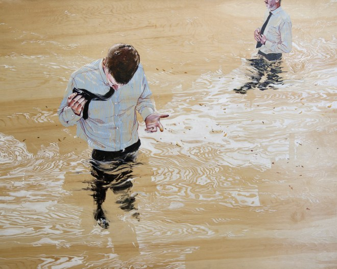 Audrey Anderson's Blinders in Hindsight, a work in ink on wood. Photograph courtesy Gallery2
