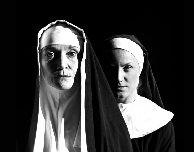 Unrelenting: Sister Aloysius (Fiona Ramsay) and Sister James (Janna Ramos-Violante) hold moral authority in a place of worship. Photograph by Germaine de Larche, courtesy Auto & General Theatre on the Square.