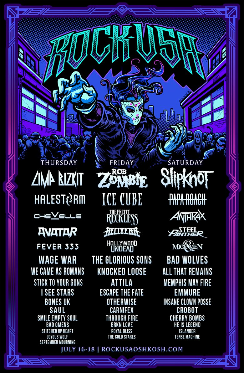 Rock USA 2020 full line-up poster Rob Zombie